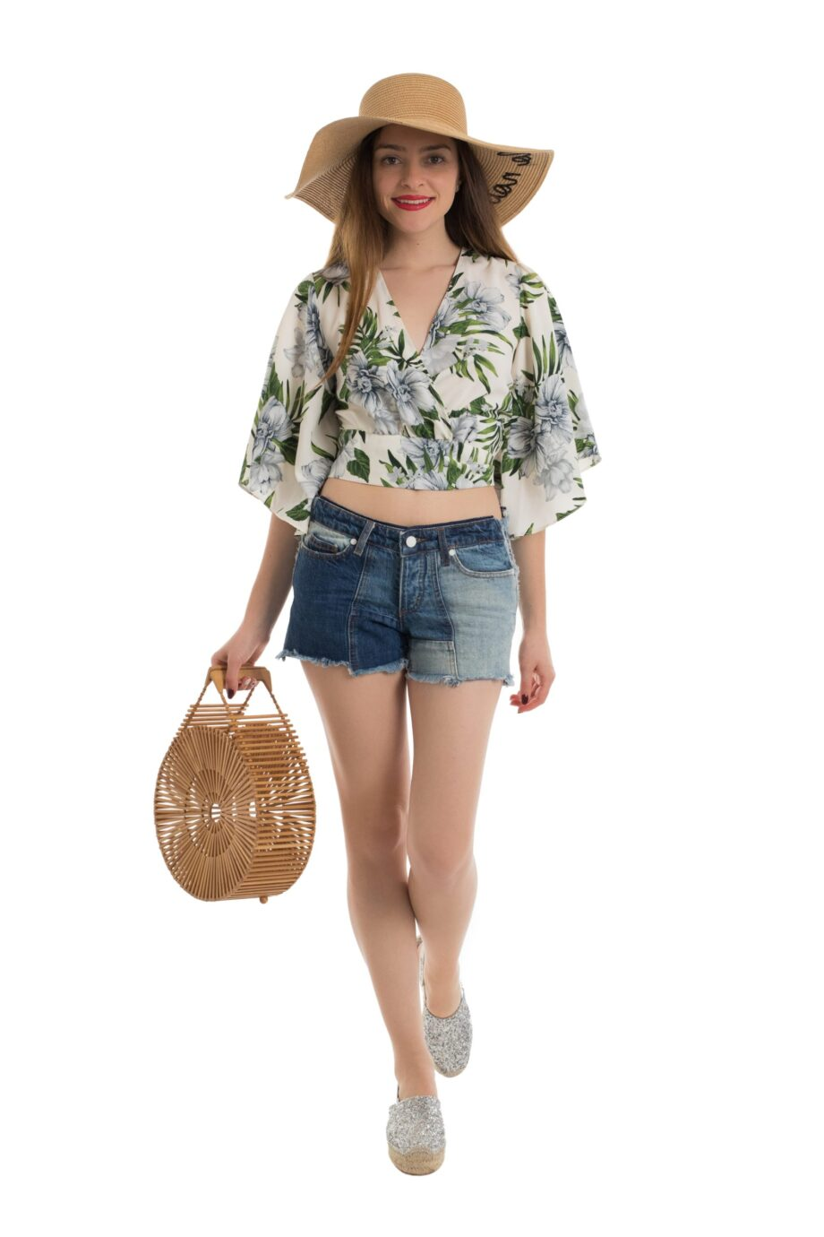crop top dama crem print flori frida