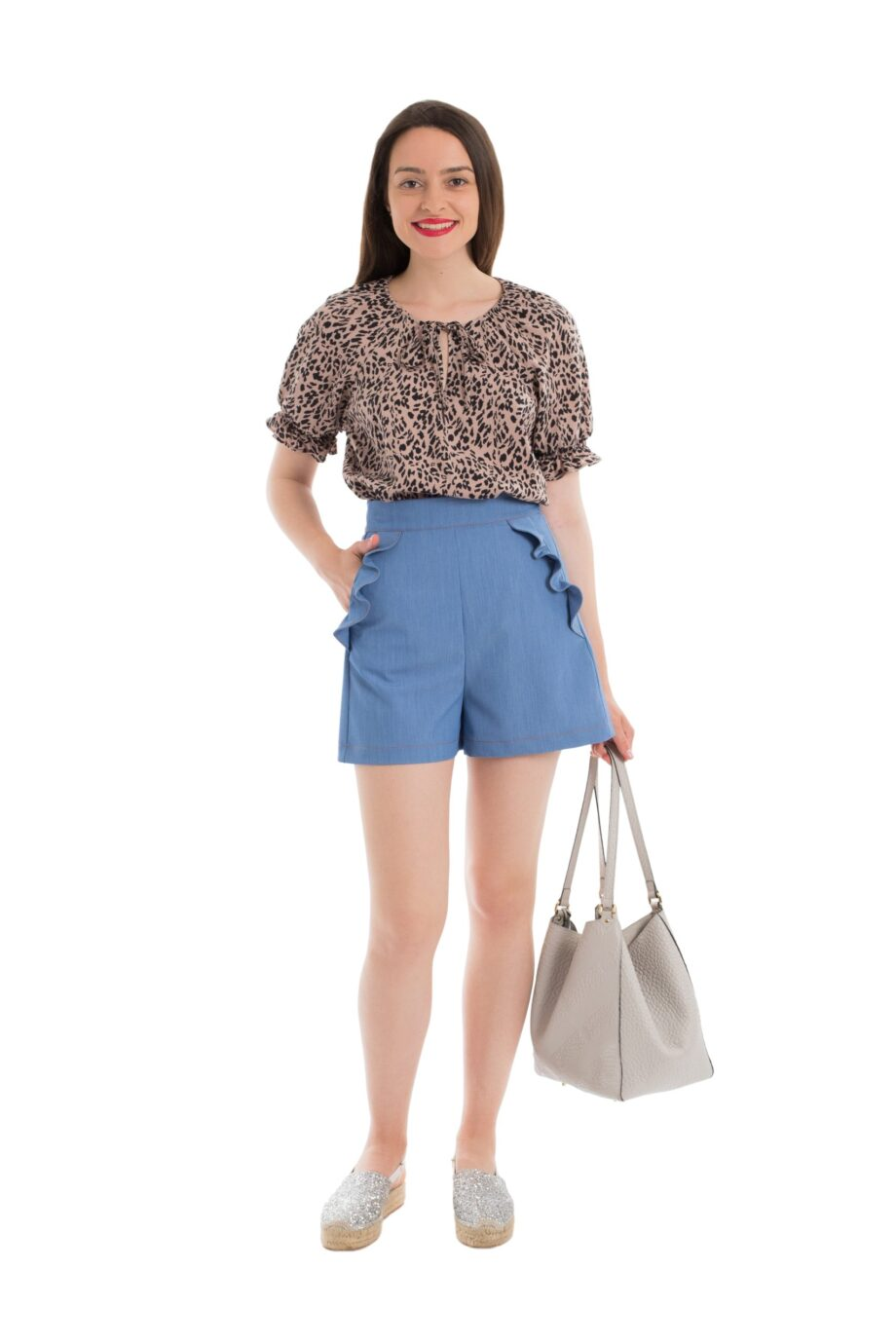 bluza dama ie maneca scurta elastic animal print alana